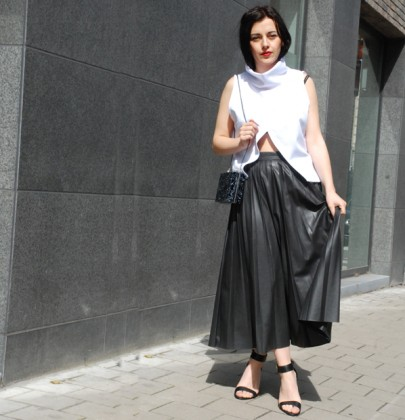 Outfitpost: Long leather skirt